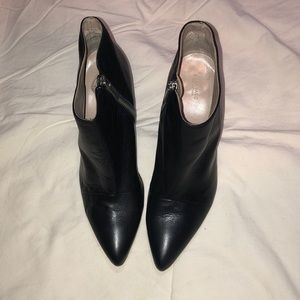 Zara black leather ankle booties